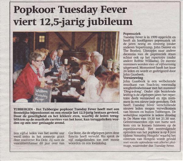 krantenartikel Tuesday Fever bestaat 12,5 jaar